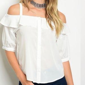 Tops - White Cotton Button Down Blouse